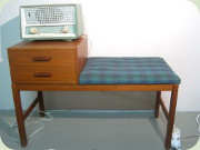 60's teak telephone                           bench with drawer unit