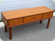 60's teak low chest of                           drawers or bench