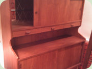 Teak                           highboard with sliding door and bar cabinet