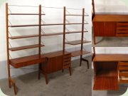 60's free standing                           mahogany bookcase shelving unit probably Poul                           Cadovius Toyal System