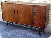Scandinavian 60's                           rosewood sideboard with 6 drawers, black                           handles and legs