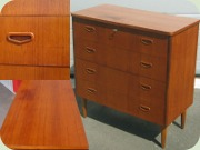 Swedish 50's or 60's                           teak chest of drawers