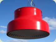 Red Bumling Swedish                           design ceiling lamp by Anders Pehrson Ateljé                           Lyktan 1968