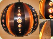 Large globe ceiling                           lamp in copper and black lacquered metal with                           prisms , Werner Schou Coronell Elektro                           Denmark