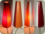 Swedish 60's rocket                           lamp with plastic ribbons