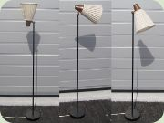 50's black lacquered                           floor lamp with tiltable shade