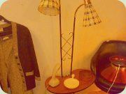 50s Swedish                           twoarmed standard lamp with kidneyshaped                           table