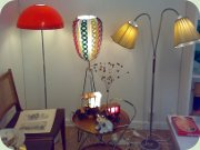 60's floor lamp with plastic shade, 50's                           floor lamp with shadre re-made in plastic                           stripes and a 50's two-armed floor lamp