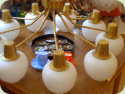 60's huge brass ceiling lamp, nine arms                           with glass shades