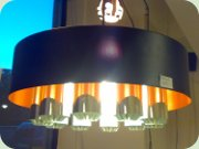 60's ceiling lamp,                           black lacquered with orange inside and chrome                           cylinders