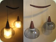 60's teak ceiling lamp                           with grey glass shades, inner shades in clear                           glass