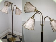 Swedish 40's or 50's                           style three armed standard lamp