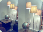 50's white lacqered                           tall standard lamp with three shades
