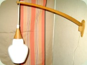 50's oak wall light                           with opaque glass shade