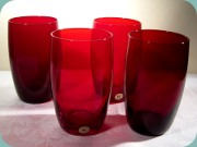 Swedish 50's ruby red                           tumblers by Reijmyre