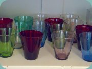 50's glass in                           different colours from Reijmyre: Raspa, Samba,                           Mambo and Rio.