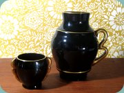 30's Art deco                           cigarette cup and vase in black glass