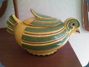 1930's Art deco egg                           bowl with lid in yellow & green, Gefle,                           Sweden