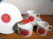 60's or 70's coffe set                           with floral pattern in red and pink, Thomas                           Germany
